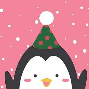 """Arte Vita DIY Acrylic Painting, Paint by Number Kits for Kids Beginner - Happy Penguin 8"""" x 8"""""""