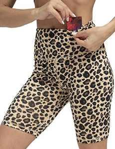 """ZIIIIIZ Women's 8"""" /5"""" High Waist Biker Shorts with Pockets Yoga Workout Running Athletic Shorts for Women(YellowLeopard-XXL)"""