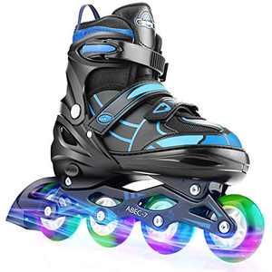 Inline Skates for Girls Boys Kids Youth Women Adjustable Blade Skate for Toddler Light Up Blades Roller Skates for Teens Training Blades Roller Skates Size 12-9