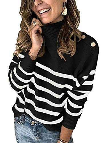 Boncasa Winter Women's Long Sleeves Knit Sweater Turtleneck Striped Print Loose Pullover Tops Deco with Metal Button Black 2BC67-heise-XL