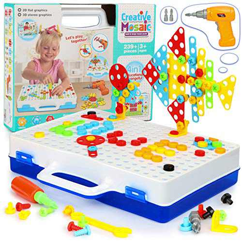 239 Pieces Electric Drill Puzzle Toy Set Electric DIY Drill Educational Set 3D Construction Engineering Building Blocks Play Set Creative Games Puzzles Toys Gift Set for Boys and Girls Aged 3-10 Years