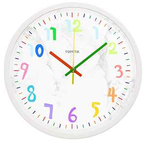 Modern Kids Wall Clock Silent Non-Ticking Battery Operated 12 Inch Easy to Read Colorful Cartoons Decorative Clock for Children's Room School Classroom Kindergarten (White, 12 Inch)