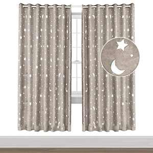 """Rainlin Moon and Stars Blackout Curtains for Living Room Bedroom, Grommet Thermal Insulated Room Darkening Printed Kids Curtains, 2 Panels of 52"""" W x 84"""" L, Beige"""