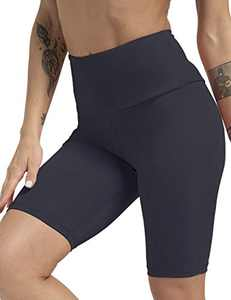 ZIIIIIZ High Waist Tummy Control Workout Biker Running Yoga Shorts with Pockets for Women(Darkgray,S)