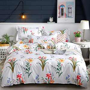 Shatex Twin Bed Comforter 2 Pieces Bedding Comforter Sets Twin Set– Ultra Soft 100% Microfiber Polyester – Floral Print Comforter with 1 Pillow Sham