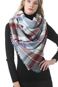 Mofeite Womens Long Plaid Blanket Scarf Shawl Wrap Big Tartan Chunky Oversized Scarves