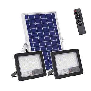Isenjo 50W LED Solar Flood Lights, Dual Head LEDs 1500LM High Bright Security Lighting, Dusk to Dawn Photocell Sensor, IR Remote Control, 6500K Cool White, IP65 Waterproof for Outdoor,Yard, Garden