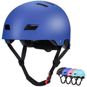 WILDMAX Kids Skateboarding Helmet Adjustable Kids Helmet for Ages 8-12 Boys Girls Youth Safety Cycling Scooter Inline Skating Helmet (Blue)