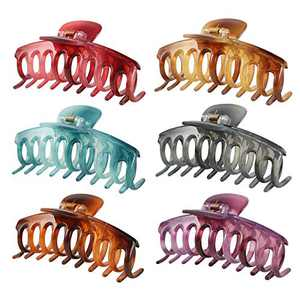 6 PCS Large Hair Claw Clips for Women, Crystal Claws Clips for Women/Girls, Big Hair Clips for Girl Thick/Long Hair