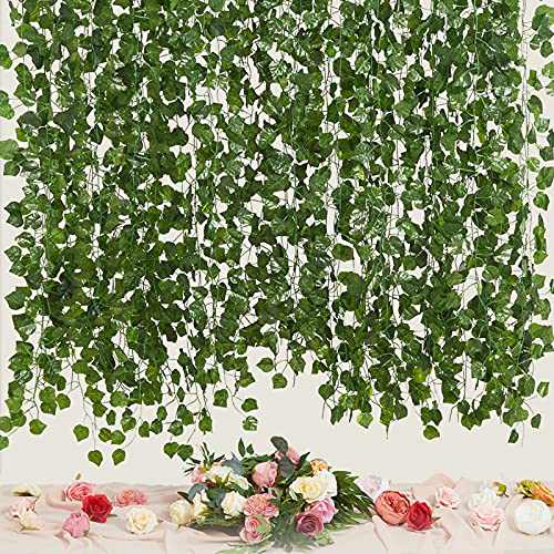 LA.PONEE 12 Strands Artificial Ivy Leaf Plants Vine Hanging Garland Fake Foliage Flowers Home Kitchen Garden Office Wedding Wall Decor (Green 3-84 Feet)