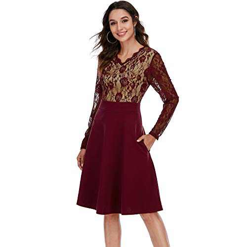 Aojo Women's Vintage V-Neck Lace Floral Cocktail Party Swing Dress Red