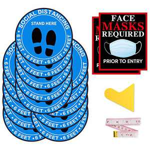 15PCS Social Distancing Floor Decals – 6ft Social Distance Floor Sticker –10-inch Round Safety Stickers –2PCS Mask Required and Stand Here Floor Sticker – Easy Apply and Remove (17 PCs Blue)