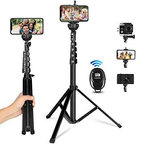 """Selfie Stick Tripod, 62"""" Extendable Cell Phone Tripod Stand Selfie Stick with Wireless Remote Compatible for iPhone Android DSLR Camera Gopro, iPhone Tripod for Selfies Video Recording Live Streaming"""
