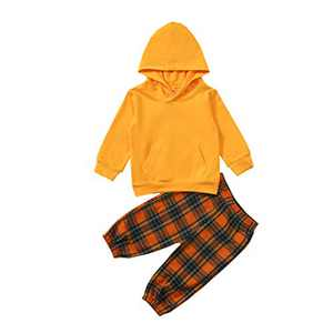 GLIGLITTR Toddler Baby Boys Girls Outfit Long Sleeve Hoodie Sweatshirts & Pants Fall Winter Sweatsuit Setv (Yellow, 3-4T)
