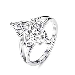 Sllaiss 925 Sterling Silver Celtic Knot Ring for Women Good Luck Irish Vintage Band Stackable Rings Celtic Love Knot Knuckle Ring (9)