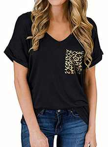RULINJU Women's Short Sleeve T Shirts V-Neck Tunic Tops Loose Casual Tees Front Leopard Pocket (Large, B03_Black)
