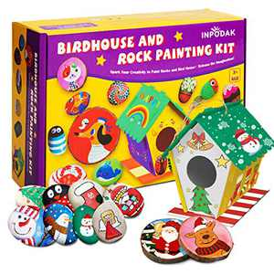 Bird House Kit, Rock Painting Kit and Wood Slices Kit 3-in-1 Arts and Crafts Set for Kids Over 3 Years Old