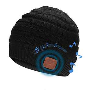 WIOR Bluetooth Beanie Hat, Slouchy Warm Winter Knitted Cuff Cap Music Hat w/Built-in HD Stereo Headphone & Mic for Outdoor Sports, Skiing, Skateboarding, Jogging, Gift for Men Women Boys Girls - Black