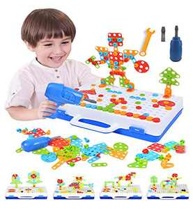 Electric Drill Toy Set Drill Bit Toy Stem Toys STEM Engineering Toy Building Block Game Set 3D Construction Engineering Toy, the Best Early Toy Age 3 4 5 6 7 8 9 10 Year Old Creative Game Toy