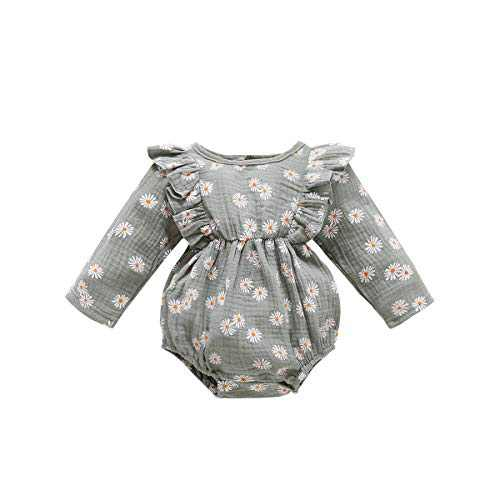 Aweyoo Baby Girl Romper Long Sleeve Cotton Bodysuit Ruffle One-Piece Onesies Infant Toddler Girls Fall Outfits