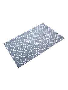 """Delxo Door Mats, 24""""x36"""" Cotton Hand-Woven Washable Door Rugs. Quatrefoil Pattern,Great for Indoor, Outdoor,Front Door,Bedroom,Laundry. Grey and White"""