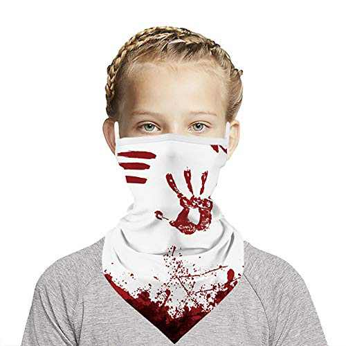 AIFFERA Kids Neck Gaiter, EarLoops Triangle Mask Cover Bandana Face Scarf Gifts (White)