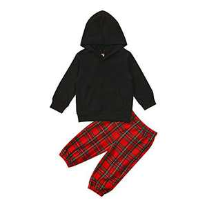 GLIGLITTR Toddler Baby Boys Girls Outfit Long Sleeve Hoodie Sweatshirts & Pants Fall Winter Sweatsuit Setv (Black, 12-18 Months)