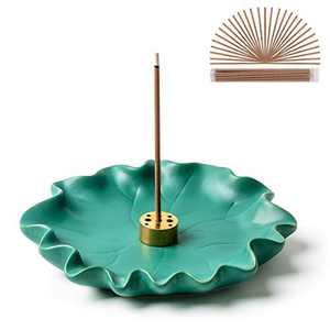 VVMONE Incense Holder Pure Cyan Ceramic Lotus Leaf Tray, Incense Cone Burner, Incense Holder for Sticks, Modern Minimalist Style Simple Incense Burner for Home Decor Zen Decor Accessory