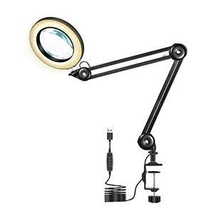 """LED Magnifying Lamp - 3 Color Modes, Stepless Dimming,5-Diopter, 4.1"""" Diameter Glass Lens, Adjustable Swivel Arm Lighted Magnifier Light for Workbench Reading Craft Close Work"""