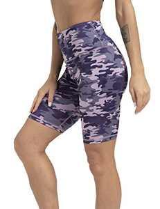 """ZIIIIIZ Women's 8"""" /5"""" High Waist Biker Shorts with Pockets Yoga Workout Running Athletic Shorts for Women(PurplePinkCamo-L)"""