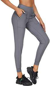 """Loovoo Women's 26"""" High Wasited Joggers Lightweight Athletic Running Sport Pants Pockets Sweatpants Grey 6-S"""