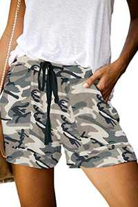 ONLYSHE Camo Shorts for Womens Summer Color Block Casual Fashion Pocketed Shorts Beige