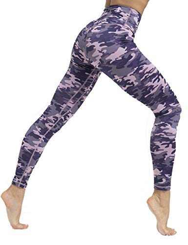 ZIIIIIZ High Waist Yoga Pants for Women Tummy Control Workout Athletic Compression Leggings with Pockets for Women(PurplePinkCamo,L)