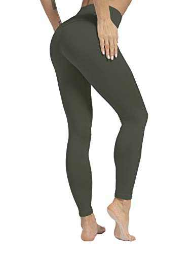 ZIIIIIZ High Waist Yoga Pants for Women Tummy Control Workout Athletic Compression Leggings with Pockets for Women(Green,S)