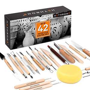Clay Tools, 42 PCS Sculpting Tools Pottery Tool Kit for Beginners and Professional Art Crafts, by Hethrone