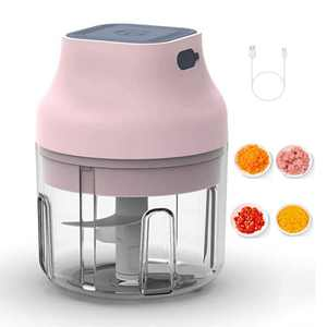 Electric Garlic Chopper Mini Food Processor USB Rechargeable Wireless Portable Cordless Chopper 250ML Mincer Blender Mixer for Baby Food Garlic Onion Salad Meat Veggie Fruit Nut Pepper Ginger(Pink)