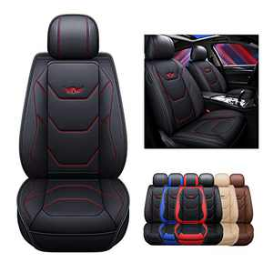 SOGLOTY Leather Car Seat Covers Auto Front Rear Cushion Cover for Cars SUV Pick-up Truck Seat Protector Fit Set for Auto Interior Accessories with Airbags Compatible (Front, Black Red Line)