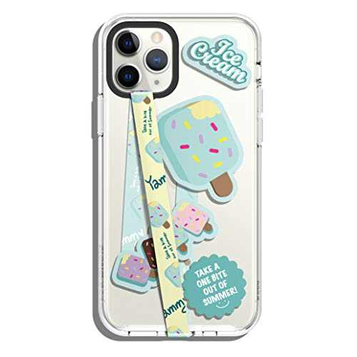 elago Phone Strap with Stickers, Phone Grip, Phone Loop Compatible with All Smartphone Case, Double Sided Design, Stickers Included, Compatible with magsafe [Beige Strap & Mint Ice Cream]
