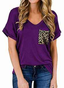 RULINJU Women's Short Sleeve T Shirts V-Neck Tunic Tops Loose Casual Tees Front Leopard Pocket (Medium, B04_Purple)