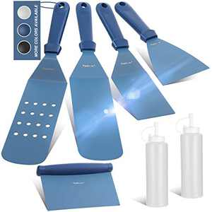 Wanbasion Blue BBQ Griddle Accessories Set, Flat Top Griddle Accessories, BBQ Griddle Accessories Kit with Heavy Duty Scraper Spatula Turner and Bottles