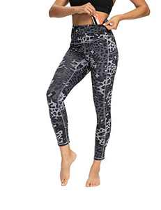 OXZNO High Waisted Yoga Pants for Women Lightweight Workout Running Compression Leggings with Pocket for Women(DarkGrayLeopard,S)