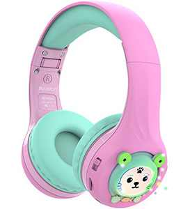 Riwbox Baosilon FB-7S Frog Kids Headphones Bluetooth, LED Light Up Wireless Headphones Over Ear Volume Limited Safe 75/85/95dB with Mic and TF-Card, Children Headphones for School/PC (Pink&Green)