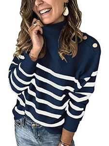 Boncasa Women's Turtleneck Mental Buttons Striped Sweater Long Sleeve Loose Knit Pullover Jumper Tops Navy 2BC67-zangqing-S