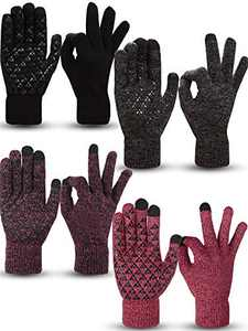 4 Pairs Winter Knit Touchscreen Gloves Warm Texting Gloves Elastic Anti-slip Gloves for Adults (Black, Black Red, Black Grey, Rose Red, M)