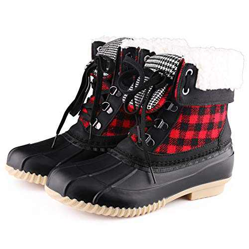 Nature wind Women's Winter Boot Slimpack Lace Waterproof Insulated Non Slip Fur Lined Booties Red Grid 7