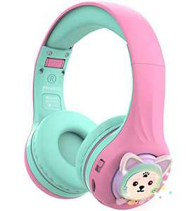 Riwbox Baosilon CB-7S Cat Kids Headphones Wireless/Wired with Mic, Light Up Bluetooth Headphones Over Ear Volume Limited Safe 75/85/95dB with TF-Card, Children Headphones for School(Pink&Green)