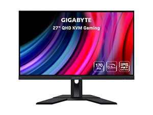 "Gigabyte M27Q 27"" 170Hz 1440P KVM Gaming Monitor, 2560 x 1440 SS IPS Display, 0.5ms (MPRT) Response Time, 92% DCI-P3, HDR Ready, FreeSync Premium, 1x Display Port 1.2, 2X HDMI 2.0, 2X USB 3.0, Black"