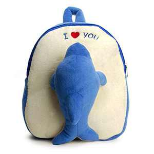 Bear of Allan Toddler Backpack Stuffed Animal - 3D Cute Plush Animal Backpack for Preschool Boys Girls, Super Soft Plush, Dolphin, 11 Inch, Blue