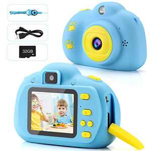 Kids Camera 1080P FHD Digital Video 8MP Camera 2-inch IPS Screen Selfie Toddler Camera with 32GB SD Card Rechargeable Children Camera Birthday/Christmas/New Year Toy Gifts for 5 6 7 8 9 10 Year Old