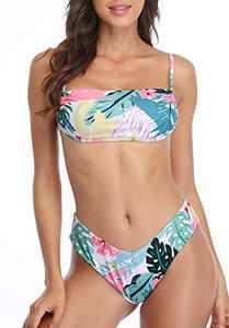 Charmo Women's Leaves Print Bikini Lace-up Swimsuit High Cut 2 Pieces Bathing Suit M